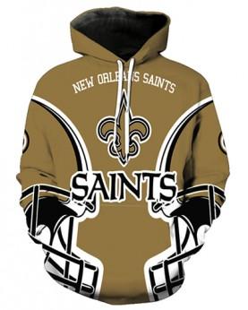 FGA7419 3D Digital Printed NFL New Orleans Saints Football Team Sport Hoodie With Hat
