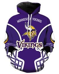 FGA7420 3D Digital Printed NFL Minnesota Vikings Football Team Sport Hoodie With Hat