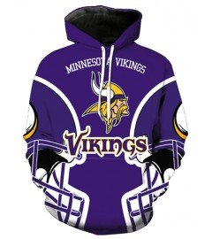FGA7420 3D Digital Printed NFL Minnesota Vikings Football Team Sport Hoodie With Hat