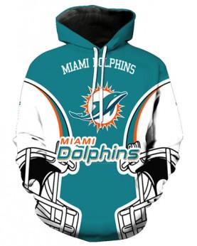 FGA7421 3D Digital Printed NFL Miami Dolphins Football Team Sport Hoodie With Hat