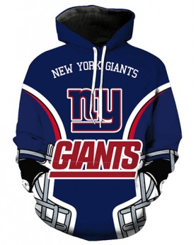 FGA7422 3D Digital Printed NFL New York Giants Football Team Sport Hoodie With Hat