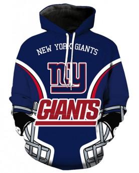 FGA7422 3D Digital Printed NFL New York Giants Football Team Sport Hoodie With Hat