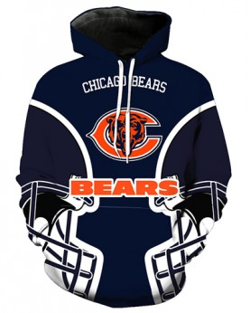 FGA7423 3D Digital Printed NFL Chicago Bears Football Team Sport Hoodie With Hat