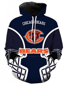 FGA7423 3D Digital Printed NFL Chicago Bears Football Team Sport Hoodie With Hat