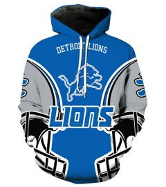 FGA7424 3D Digital Printed NFL Detroit Lions Football Team Sport Hoodie With Hat
