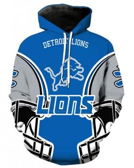 FGA7424 3D Digital Printed NFL Detroit Lions Football Team Sport Hoodie With Hat