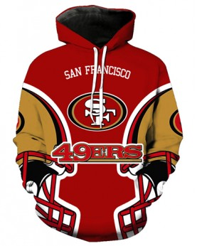FGA7426 3D Digital Printed NFL San Francisco 49ers Football Team Sport Hoodie With Hat