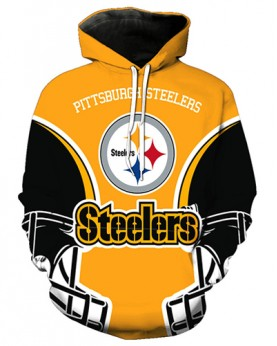 FGA7427 3D Digital Printed NFL Pittsburgh Steelers Football Team Sport Hoodie With Hat