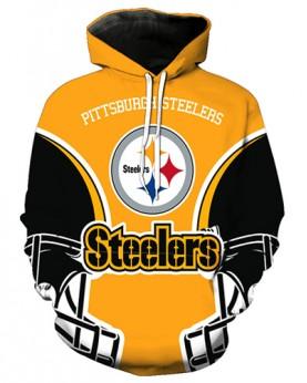 FGA7427 3D Digital Printed NFL Pittsburgh Steelers Football Team Sport Hoodie With Hat