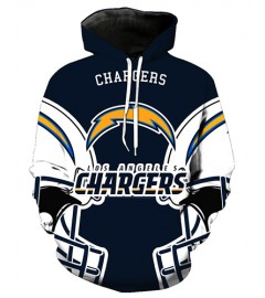 FGA7428 3D Digital Printed NFL Los Angeles Chargers Football Team Sport Hoodie With Hat