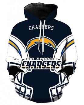 FGA7428 3D Digital Printed NFL Los Angeles Chargers Football Team Sport Hoodie With Hat