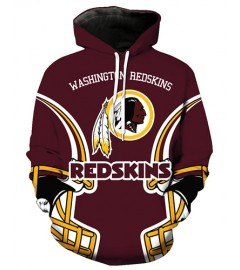 FGA7429 3D Digital Printed NFL Washington Redskins Football Team Sport Hoodie With Hat