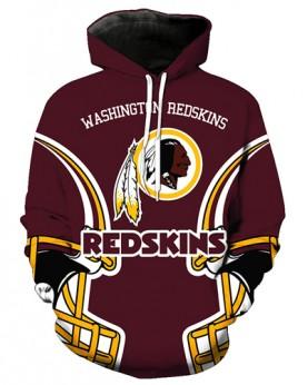 FGA7429 3D Digital Printed NFL Washington Redskins Football Team Sport Hoodie With Hat