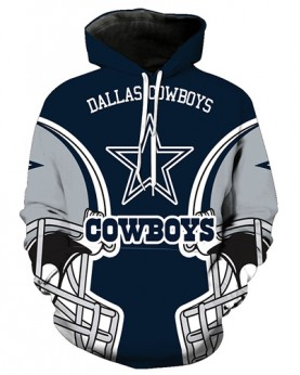 FGA7433 3D Digital Printed NFL Dallas Cowboys Football Team Sport Hoodie With Hat