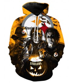 FGD7105 3D Digital Printed NFL Pittsburgh Steelers Football Team Sport Hoodie With Hat