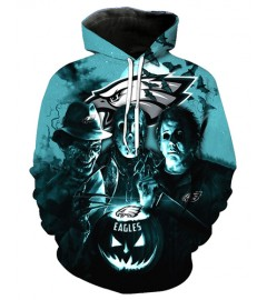 FGD7151 3D Digital Printed NFL Philadelphia Eagles Football Team Sport Hoodie With Hat