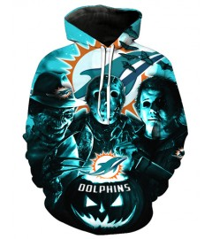 FGD7253 3D Digital Printed NFL Miami Dolphins Football Team Sport Hoodie With Hat