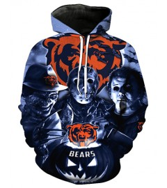 FGD7314 3D Digital Printed NFL Chicago Bears Football Team Sport Hoodie With Hat