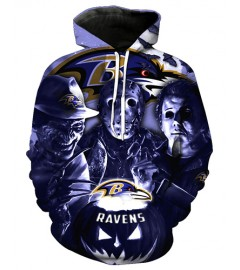 FGD7417 3D Digital Printed NFL Baltimore Ravens Football Team Sport Hoodie With Hat