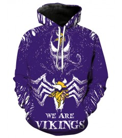 FGE7256 3D Digital Printed NFL Minnesota Vikings Football Team Sport Hoodie With Hat