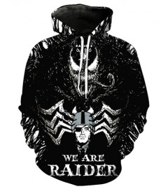 FGE7435 3D Digital Printed NFL Raiders Nation Football Team Sport Hoodie With Hat