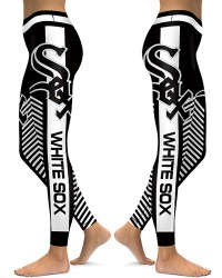 DBAQ579 High Waist MLB Chicago White Sox Baseball Team 4Needle 6Thread Stitcking Sports Leggings