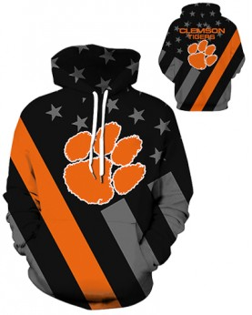 DQYDM465 3D Digital Printed American University Clemson Tigers Team Sport Hoodie Unisex Hoodie With Hat