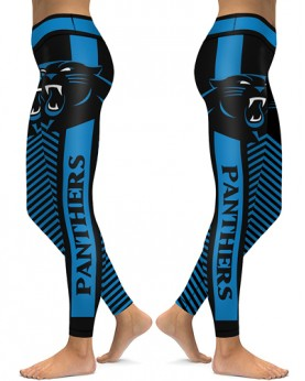 DBAQ581 High Waist NFL Carolina Panthers Football Team 4Needle 6Thread Stitcking Sports Leggings