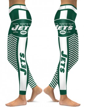 DBAQ583 High Waist NFL New York Jets Football Team 4Needle 6Thread Stitcking Sports Leggings
