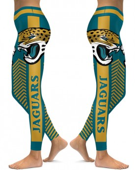 DBAQ587 High Waist NFL Jacksonville Jaguars Football Team 4Needle 6Thread Stitcking Sports Leggings