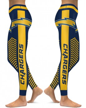 DBAQ588 High Waist NFL Los Angeles Chargers Football Team 4Needle 6Thread Stitcking Sports Leggings