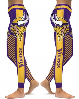DBAQ590 High Waist NFL Minnesota Vikings Football Team 4Needle 6Thread Stitcking Sports Leggings