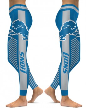DBAQ591 High Waist NFL Detroit Lions Football Team 4Needle 6Thread Stitcking Sports Leggings