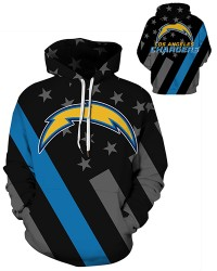 DQYDM474 3D Digital Printed NFL Los Angeles Chargers Football Team Sport Hoodie Unisex Hoodie With Hat
