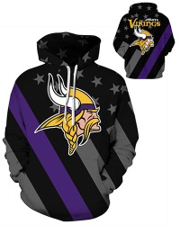 DQYDM476 3D Digital Printed NFL Minnesota Vikings Football Team Sport Hoodie Unisex Hoodie With Hat
