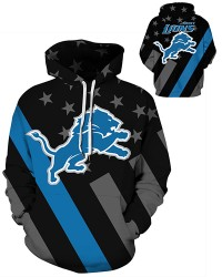 DQYDM477 3D Digital Printed NFL Detroit Lions Football Team Sport Hoodie Unisex Hoodie With Hat