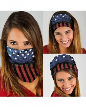 HD-MG015 New Style USA Flag Design Outdoor Sport Multifunctional Seamless Tube Magic Bandanas Scarfs