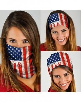 HD-MG022 New Style USA Flag Design Outdoor Sport Multifunctional Seamless Tube Magic Bandanas Scarfs