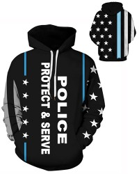 DQYDM483 3D Digital Printed Police Pretect & Serve Sport Hoodie Unisex Hoodie With Hat