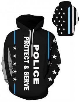 DQYDM483 Pre-Order 3D Digital Printed Police Pretect & Serve Sport Hoodie Unisex Hoodie With Hat