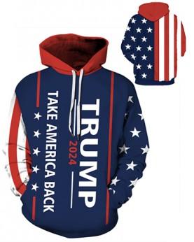 DQYDM485 Pre-Order 3D Digital Printed Trump 2024 Take America Back Sport Hoodie Unisex Hoodie With Hat