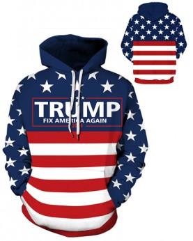 DQYDM486 Pre-Order 3D Digital Printed Trump 2024 Fix America Again Sport Hoodie Unisex Hoodie With Hat