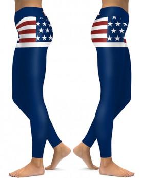DBAQ604 Pre-Order High Waist USA Words Flag Stars Stripe 4Needle 6Thread Stitcking Yoga Sports Leggings