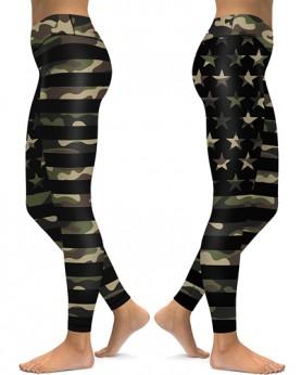 DBAQ606 Pre-Order High Waist USA Words Camou Flag Stars Stripe 4Needle 6Thread Stitcking Yoga Sports Leggings