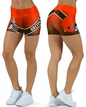 DBDQ040 High Waist NFL Cleveland Browns Football Team 4Needle 6Thread Stitcking Sports Shorts