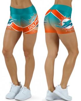 DBDQ041 High Waist NFL Miami Dolphins Football Team 4Needle 6Thread Stitcking Sports Shorts