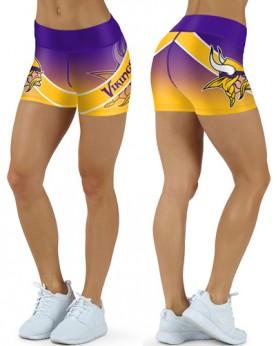 DBDQ042 High Waist NFL Minnesota Vikings Football Team 4Needle 6Thread Stitcking Sports Shorts
