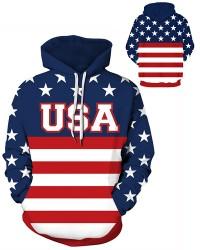 DQYDM460 Pre-Order 3D Digital Printed Trump 2024 USA Words Strip Stars Sport Hoodie Unisex Hoodie With Hat